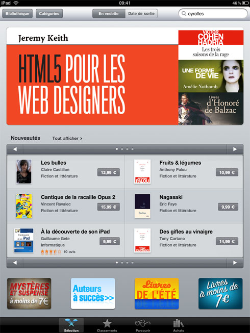 Sacre bleu! The French edition of the ebook of HTML5 For Web Designers is in the Top 5 sellers on iTunes Français.