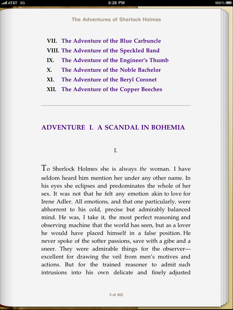 A Scandal in Bohemia, by Conan Doyle, as viewed in iBooks.